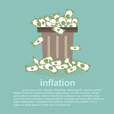 argent: l'inflation - le plein argent dans une poubelle Illustration