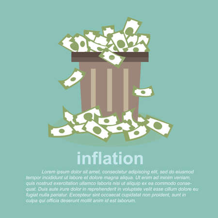 cesto basura: la inflación - el dinero lleno en un cubo de basura