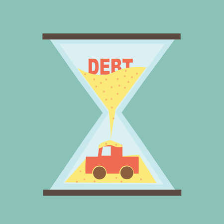 fee: Car Payment - Debt car in hourglass Illustration