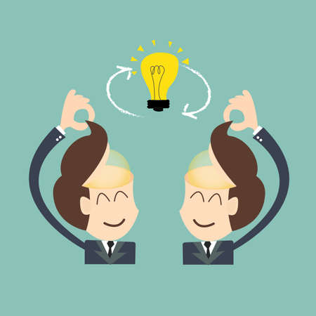Exchange ideas - conversational exchange between two individuals Illustration