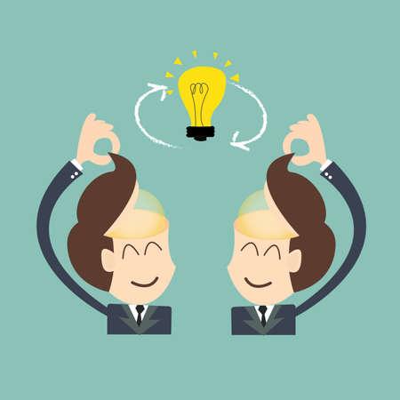 conversational: Exchange ideas - conversational exchange between two individuals Illustration