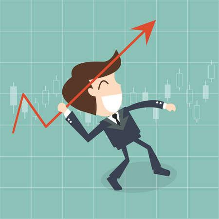 upwards: businessman throwing a javelin upwards -   growth arrow chart