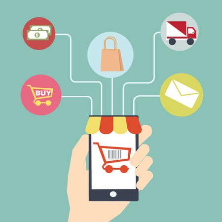 mobile commerce: mobile commerce concept  Flat design