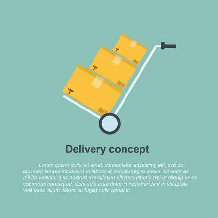 concepto de entrega - carro de mano y la pila de cajas Ilustración de vector