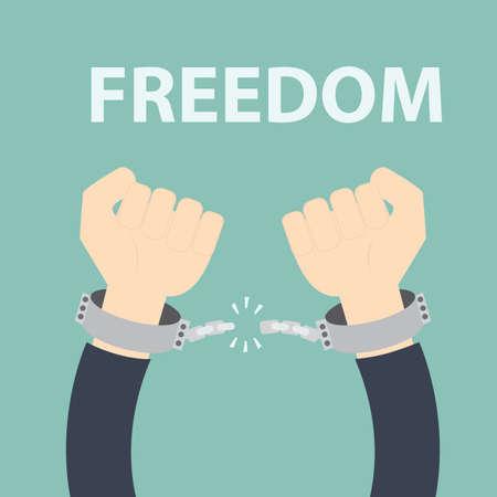 Freedom concept - Male hands breaking steel