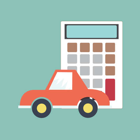 car and calculator - Concept for insurance Vector