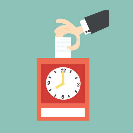 Hand putting card in time clock Vector