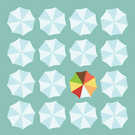 distinguish: Concept of leader with white and a colorful umbrella Illustration