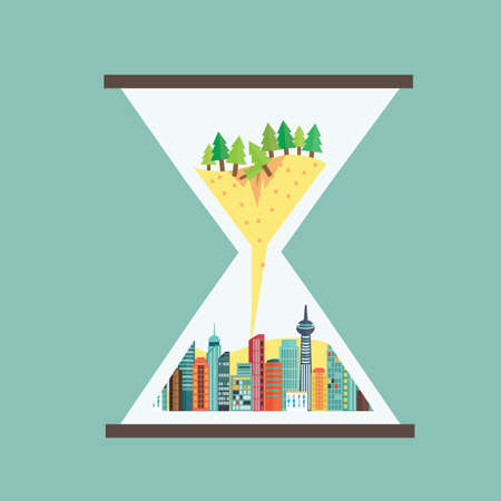 sandglass: Destruction of natural with metropolis in hourglass