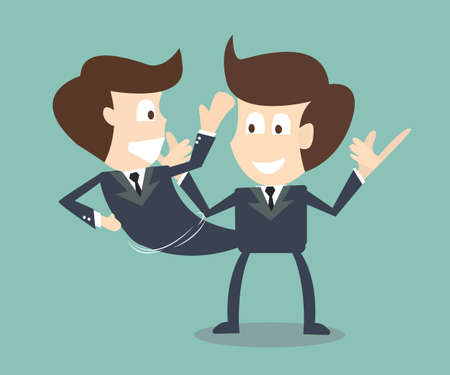 multiple personality: businessman talking to a himself Illustration