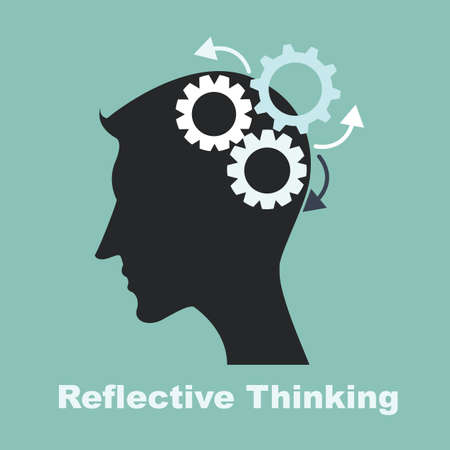 reflective thinking process with brain gears Vector