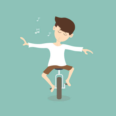exhilaration: man is feeling freedom on unicycle - comfortable concept