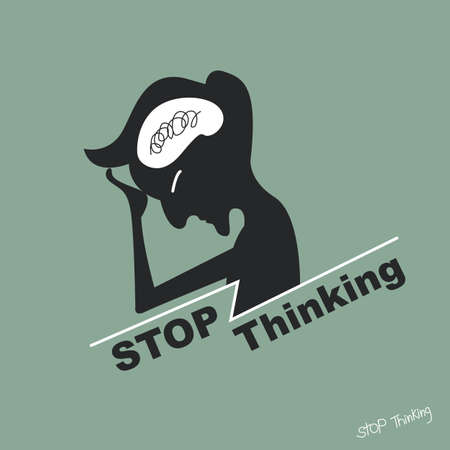 work stress: Stressed and Stop thinking concept Illustration