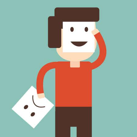 optimismo: Hombre que cambia su estado de ánimo de malo a bueno