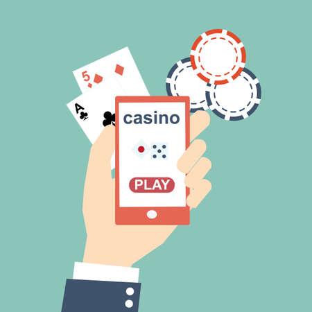mobile casino online concept - flat design Illustration