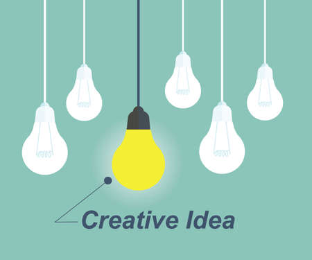key ideas: One Light bulb turn on. Concept for outstanding or creative idea Illustration