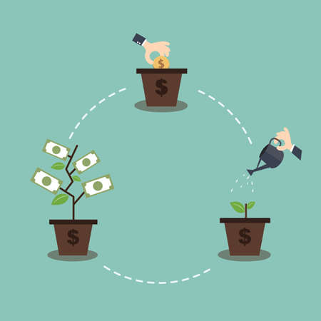 process management: Growing Money Trees - Investment and sustainable development concept