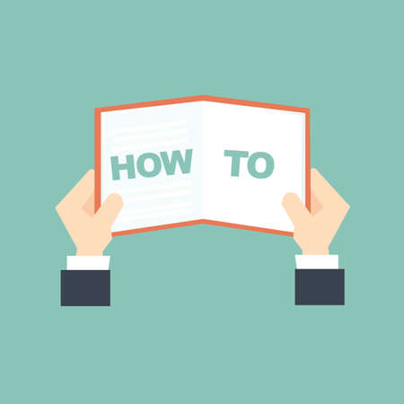 know how: man holding book how to learn Illustration