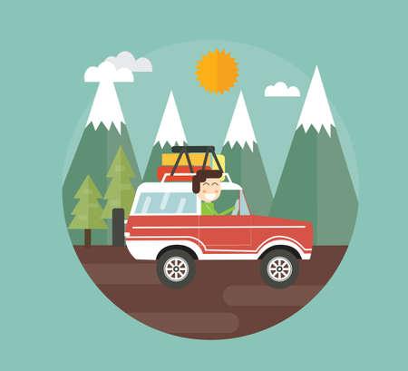 adventure sports: outdoor adventure - car drive in mountain