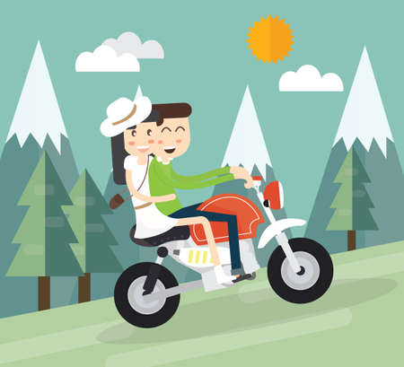 friends having fun: Young couple bikers riding on the mountain