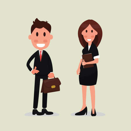 Flat style man and woman dressed in business suits. Иллюстрация