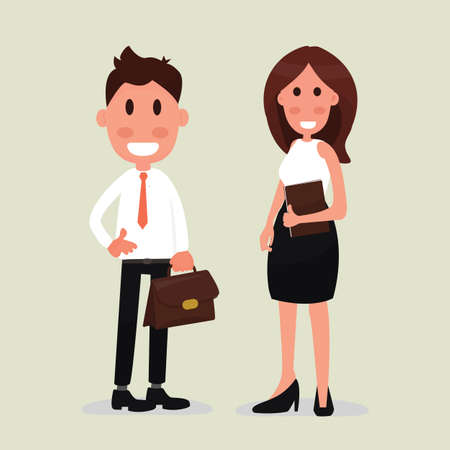 Business people couple - Young business man and woman going to work. Иллюстрация