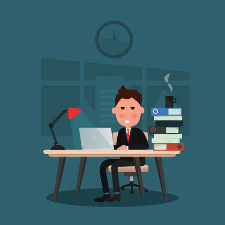 Sleepy businessman works hard at an office