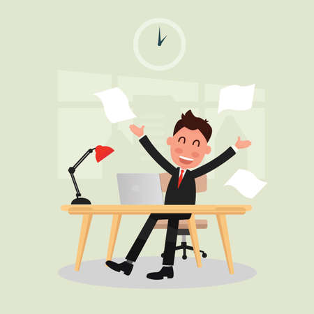 Businessman successful deal in office illustration. Illustration