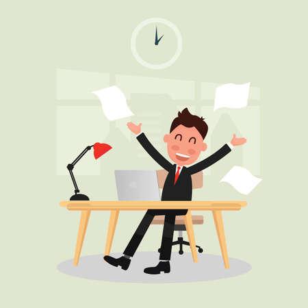 Businessman successful deal in office illustration. Illustration