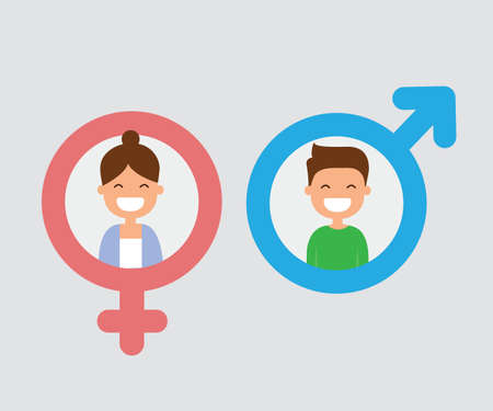 male and female icon flat design