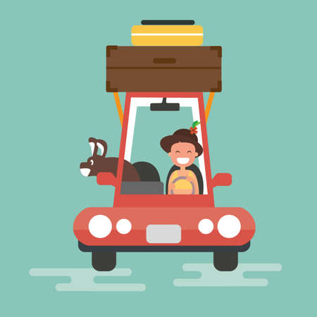 Flat design - Tourism and vacation with dog Illustration