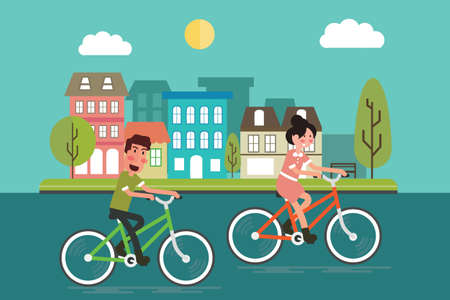 Man and woman riding a bicycle in the city Flat design