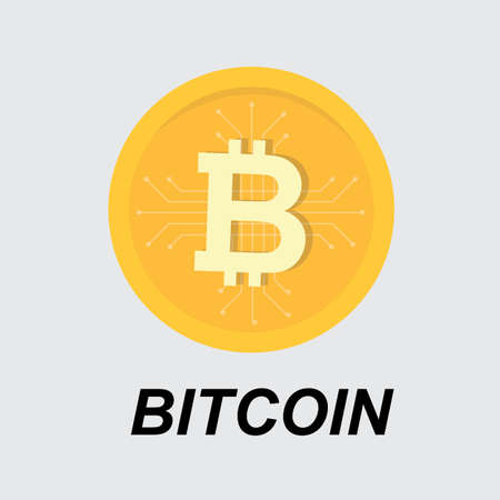 Bitcoin crypto currency blockchain flat logo Çizim