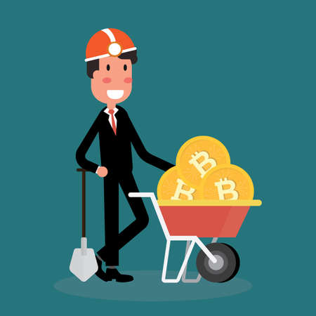 Cryptocurrency concept with businessman miners and bitcoins Illustration