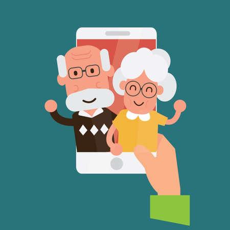 Rozmowa wideo online ze starszymi rodzicami lub dziadkami. Ilustracje wektorowe
