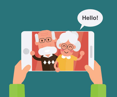 Video calling and talking with grandparents via internet on tablet