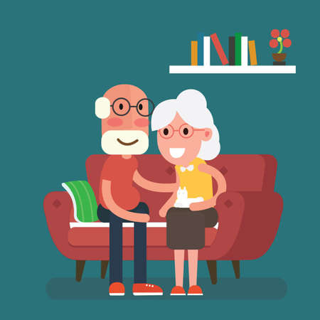 Happy elderly couple image illustration Çizim