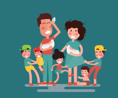Große Familie mit vielen Kindern. Kinder, Babys und ihre müden Eltern - Flat Design Vektorgrafik