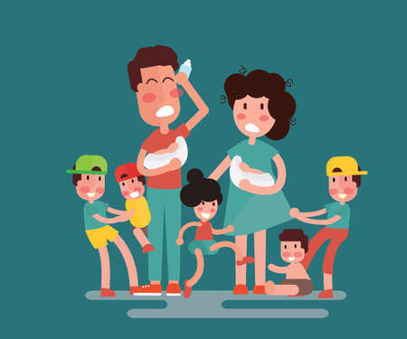 Large family with many children. Kids, babies and their tired parents - Flat Design