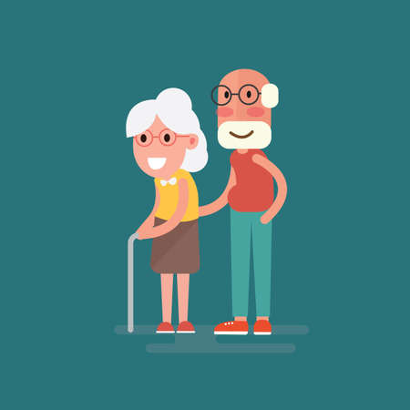 Happy grandparents holding hands cartoon style Çizim