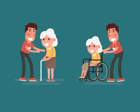 Flat design concept of health care and medical for older people.