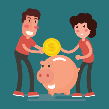 Illustration of saving couple concept with coin and piggy bank