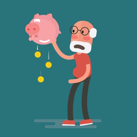 Financiële crisis - Senior Man met spaarvarken, pensioen