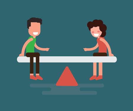 Concept d'égalité des sexes - égalité entre l'homme et la femme Design plat Vecteurs