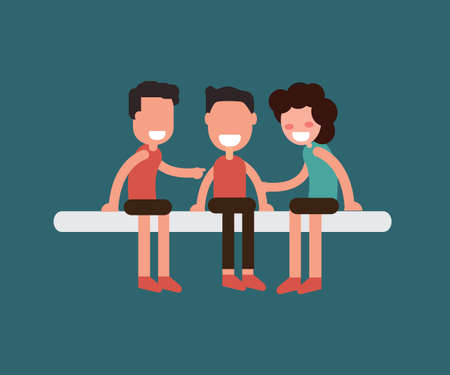 Smiling young hugging friends, Friendship vector concept.