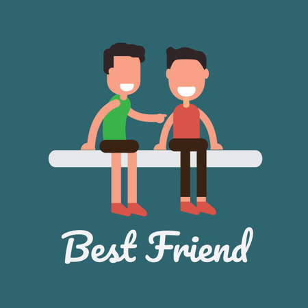 Concept of best friends, two best friend in cartoon illustration.