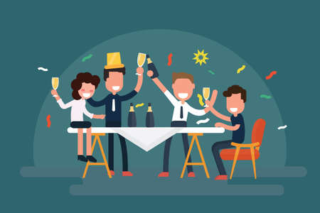 Cheerful business team celebrating table with champagne - Corporate party flat design Vector illustration.