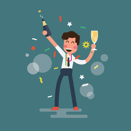 Happy businessman is standing with a champagne and a glass
