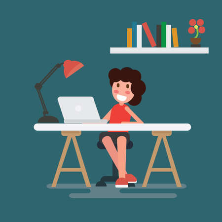 Woman working on laptop at her home office working desk. Flat style Ilustração
