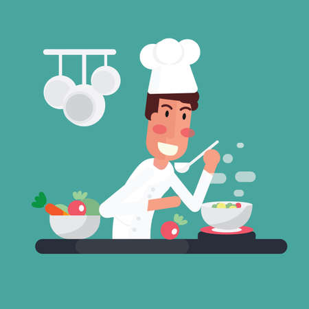 Chef cooking the soup in kitchen